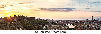 panorámico, ocaso, Florencia