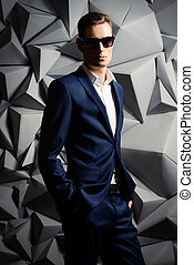 fashion man - Fashion shot of a handsome young man in...