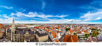 Aerial view on Marienplatz town hall in Munich, Germany