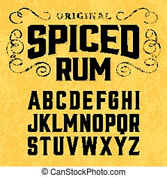 Vintage style font - Spiced rum, vintage style font with...