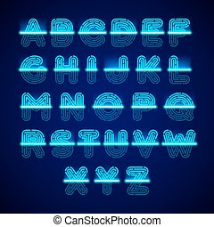 Fingerprint scanner alphabet illustration