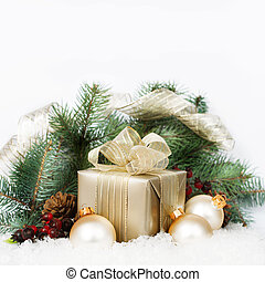 Christmas Presents and Ornaments on white Background
