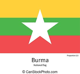 National flag of Burma with correct proportions, element,...
