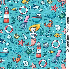 Sea life colorful vector seamless pattern - Sea life and...