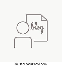 Man and sheet with word blog line icon - Man and sheet with...