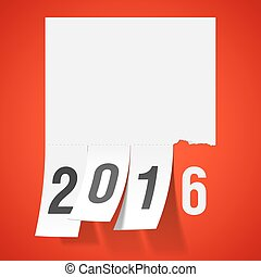 New Year 2016 greeting card - Tear off tabs