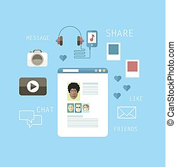 Social networking - Flat illustration of social networking....