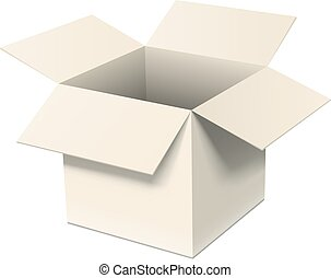 Open box - Open cardboard box isolated on white. Realistic...