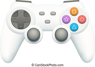 Gamepad - Cool white gamepad with colorful buttons isolated...