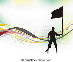 man holding a flag - A young man holding a black flag with...