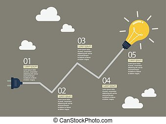 Light bulb with abstract graph infographic