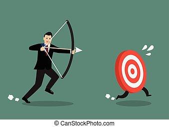 Target run away from businessman archer. Business concept