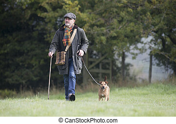 Dog is a man's best friend - Man walking his dog in the...
