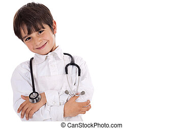Little young boy doctor over isolated white background