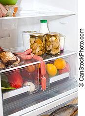 alimentos, cheio, Doméstico, refrigerador, variedade