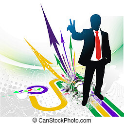 Victory sign - silhouetted of businessman showing Victory...