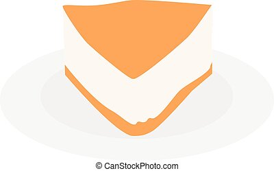 Cake slice plate - Cream cake slice plate vector isolated on...
