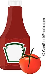 Ketchup bottle - Tomato ketchup, sauce bottle vector icon,...