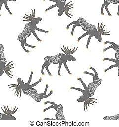 Deer vector seamless pattern with retro dots. - Deer vector...