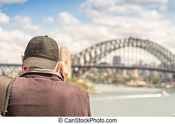 kikötő, déli,  Sydney, új,  Wales, Bridzs
