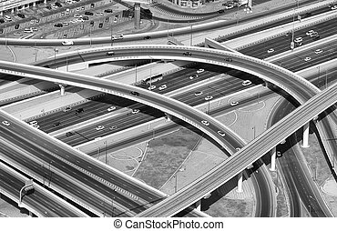 Aerial view of highway interchange of modern urban city.