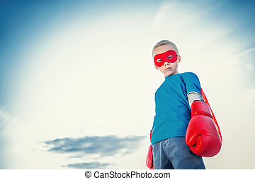 Power - Little boy with boxing gloves