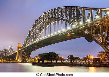 Sydney Harbour Bridge at night, Australia