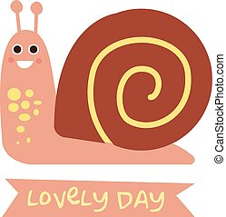 Cute snail with a sign for text