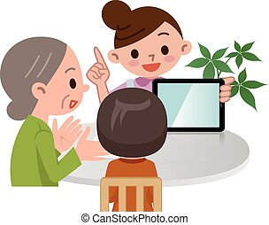 Caregiver described in tablet PC - Vector illustration.