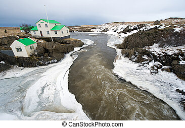 River in Iceland - A river with Ice in Iceland in the winter