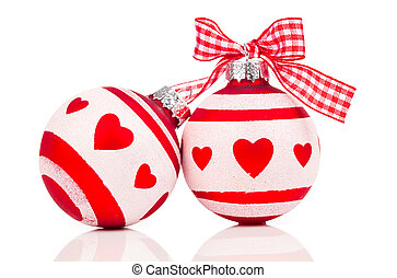 red Christmas bauble, isolated over white