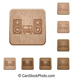 Hifi wooden buttons - Set of carved wooden hifi buttons 8...