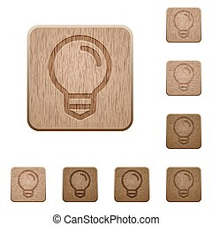 Light bulb wooden buttons