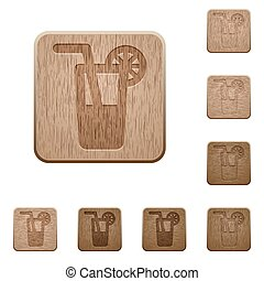 Long drink wooden buttons - Set of carved wooden long drink...