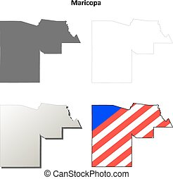Maricopa County, Arizona outline map set - Maricopa County,...