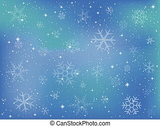 Background of snow crystals - Vector illustration.