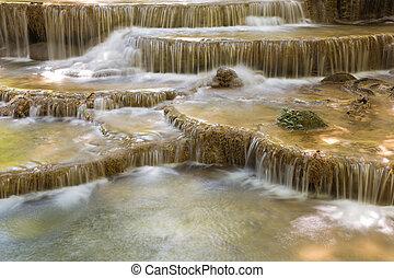 Natural topical stream waterfalls - Closed up natural...
