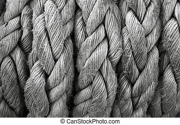 Boat rope closeup. Nautical background. - Close-up of an old...