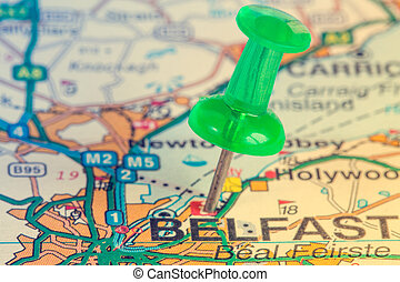 Green pushpin showing Belfast location - Green pushpin on...