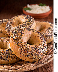 Bagels - Freshly baked homemade bagels with onion, sesame...