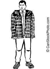 sketch of a young man in a winter jacket - black and white...