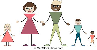 Intermarriage. Young family with three children.