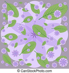 Lilac flowers and green leaves on purple background.