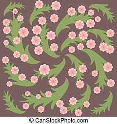 Pink flowers and green leaves on purple background.