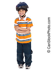 Full length image of a lovely kid ready for cycle ride on...