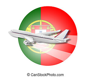 avião, e, PORTUGAL, flag.,