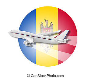 Plane and Moldova flag - Plane on the background flag of the...