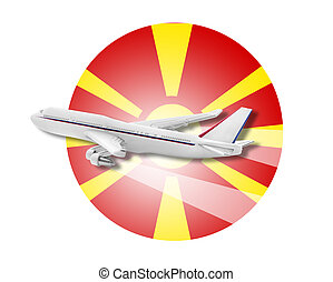 Plane and Macedonia flag - Plane on the background flag of...