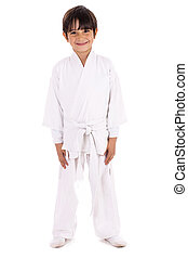 Karate kid in uniform on white isolated background