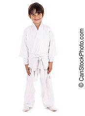 karate, niño, uniforme